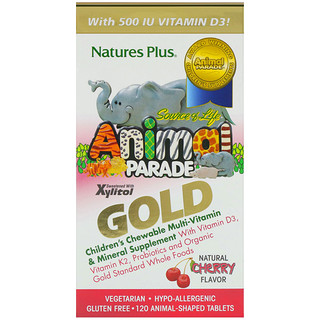 Nature's Plus, Source of Life Animal Parade Gold, Children's Chewable Multi-Vitamin & Mineral Supplement, Natural Cherry Flavor, 120 Animal-Shaped Tablets