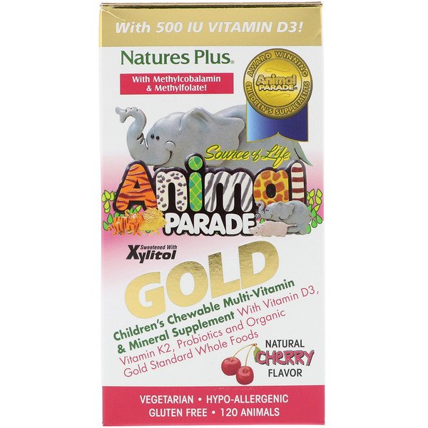 Nature's Plus, Source of Life Animal Parade Gold, Children's Chewable Multi-Vitamin & Mineral Supplement, Natural Cherry Flavor, 120 Animals