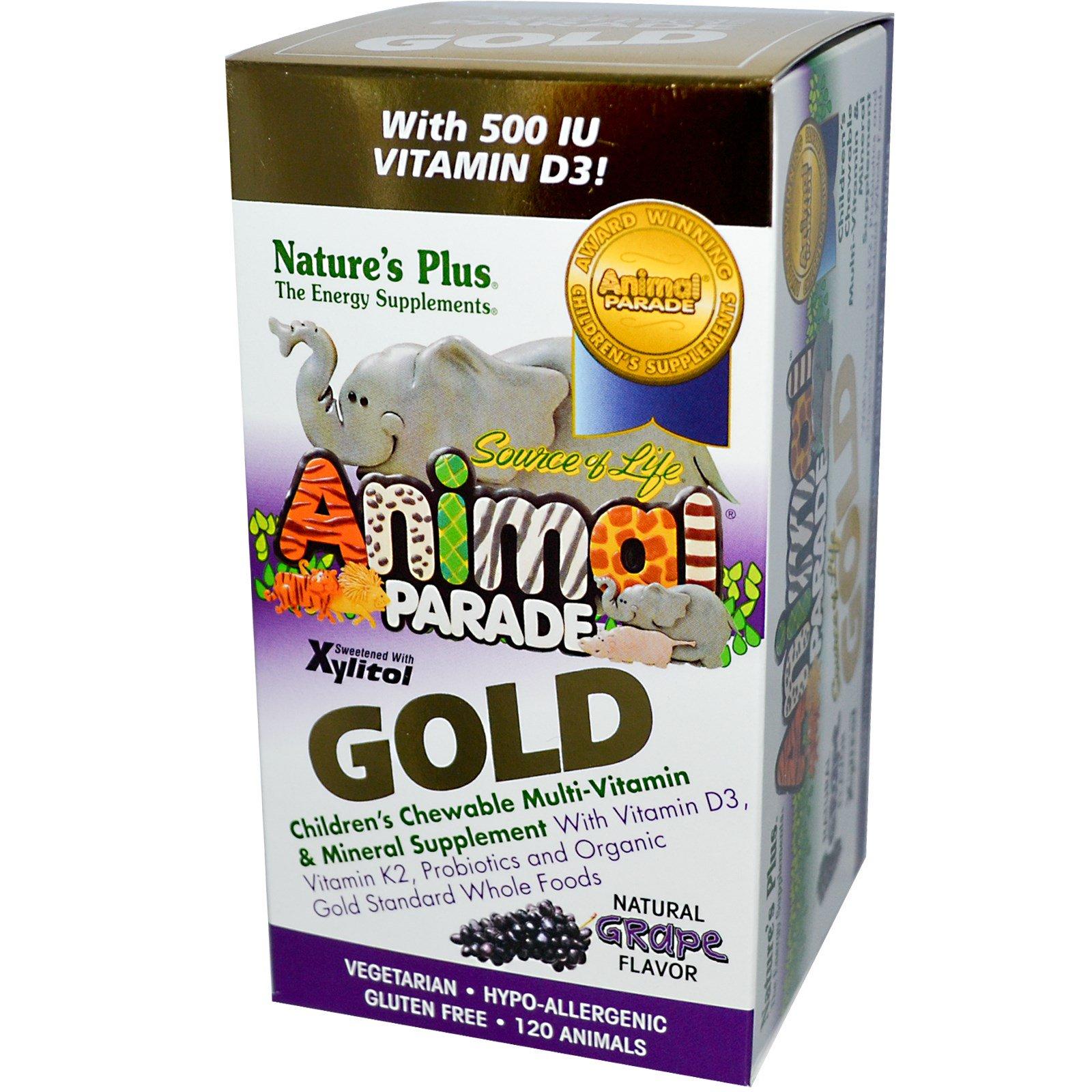 Nature's Plus, Source of Life Animal Parade, Gold, детские жевательные мультивитамины и минералы с натуральным вкусом  винограда, 120 таблеток в форме зверюшек