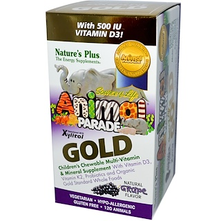Nature's Plus, Source of Life Animal Parade, Gold, Children's Chewable Multi-Vitamin & Mineral Supplement, Natural Grape Flavor, 120 Animals
