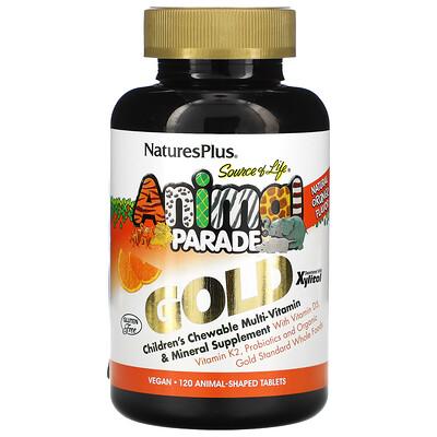 Nature's Plus Источник жизни, Золотое шествие животных, Жевательный комплекс мультивитаминов и минералов для детей с натуральным вкусом апельсина, 120 животных
