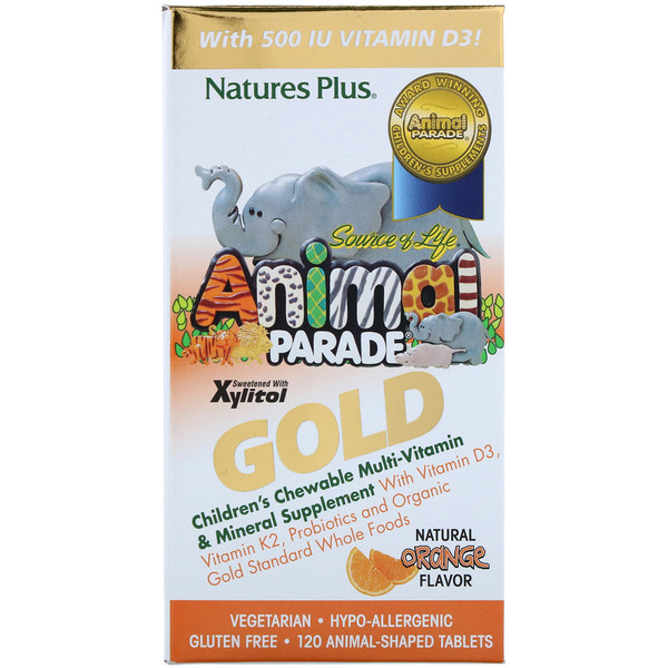 Nature's Plus, Source of Life, Animal Parade Gold, Children's Chewable Multi-Vitamin & Mineral Supplement, Natural Orange Flavor, 120 Animal Shaped Tablets