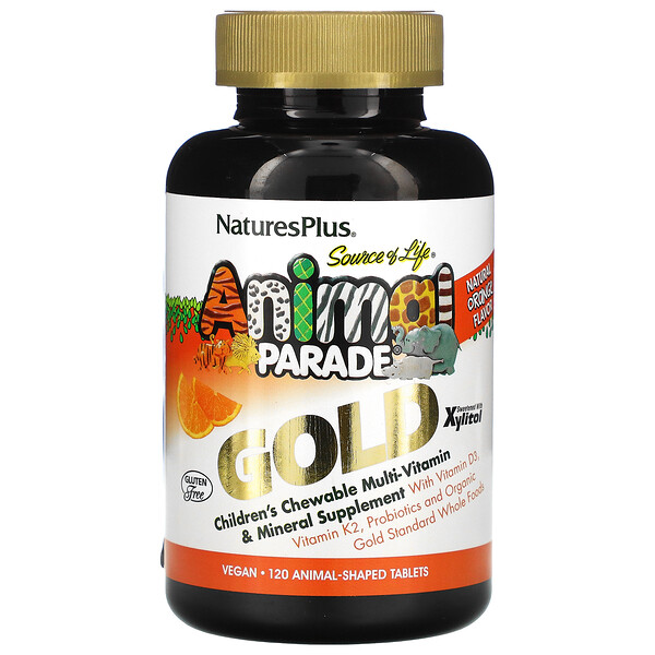 Nature's Plus, Source of Life, Animal Parade Gold, Children's Chewable Multi-Vitamin & Mineral Supplement, Natural Orange Flavor, 120 Animals