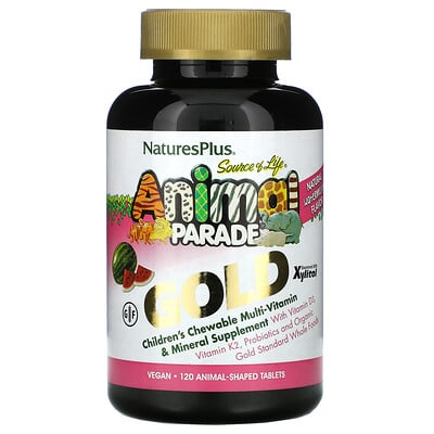 Купить Nature's Plus SourceofLifeAnimalParadeGold, жевательная мультивитаминная добавка с микроэлементами для детей, со вкусом арбуза, 120таблеток в форме животных