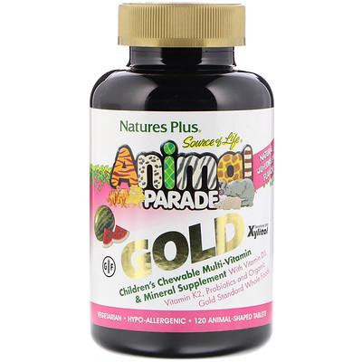 Nature's Plus Source of Life, Animal Parade Gold, жевательная добавка для детей с мультивитаминами и минералами, натуральный ароматизатор со вкусом арбуза, 120 таблеток в форме животных  - купить со скидкой