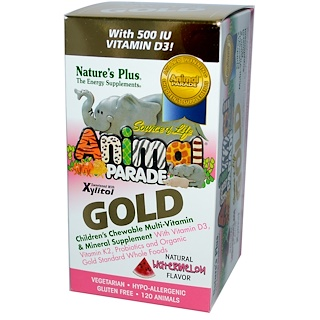 Nature's Plus, Source of Life, Animal Parade Gold, Children's Chewable Multi-Vitamin & Mineral, Watermelon, 120 Animals
