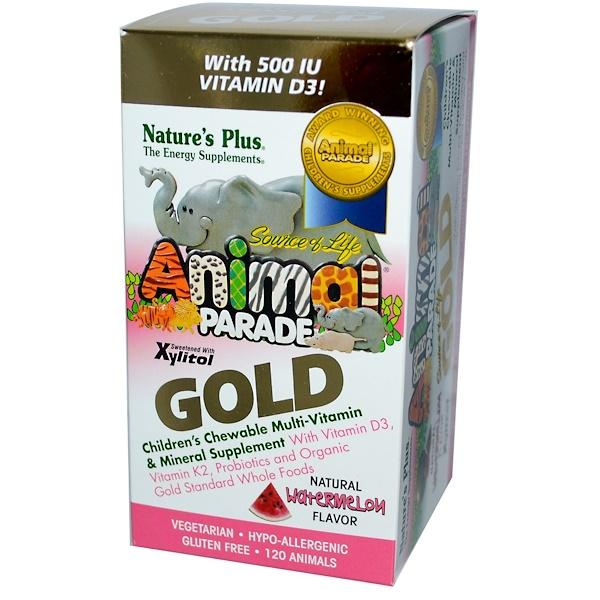Nature's Plus, Source of Life, Animal Parade Gold, детские конфеты с мультивитаминами и минералами, вкус арбуза, 120 животных