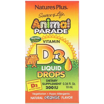 Купить Source of Life, «Парад животных», витамин D3, жидкие капли, натуральный апельсиновый вкус, 200 МЕ, 0, 34 жидк. унций (10 мл)