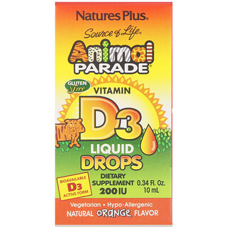 Nature's Plus, Source of Life, Desfile animal, vitamina D3, gotas, sabor natural de naranja, 200 IU, 0.34 fl oz (10 ml)
