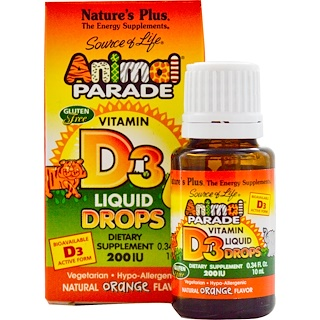 Nature's Plus, Source of Life, Animal Parade, Vitamin D3, Liquid Drops, Natural Orange Flavor, 200 IU, 0.34 fl oz (10 ml)