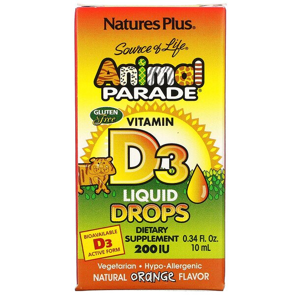 Nature's Plus, Source of Life, Animal Parade, Vitamin D3, Liquid Drops, Natural Orange Flavor, 200 IU, 0.34 fl oz (10 ml)