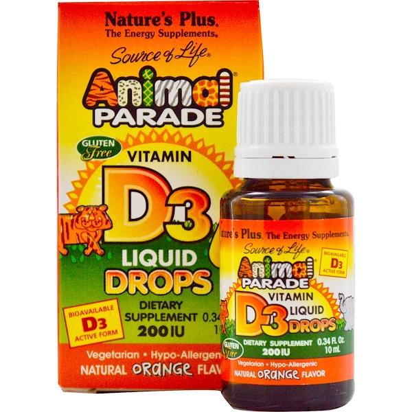 Nature's Plus, 生命之源,歡樂動物園維生素D3口服液,天然橙味,200IU,0、34液體盎司(10毫升)