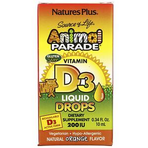 Натурес Плюс, Source of Life, Animal Parade, Vitamin D3 Liquid Drops, Natural Orange Flavor, 200 IU, 0.34 fl oz (10 ml) отзывы покупателей