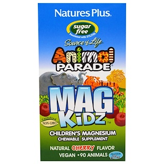 Nature's Plus, Animal Parade, Mag Kidz, Children's Magnesium, Cherry Flavor, 90 Tablets