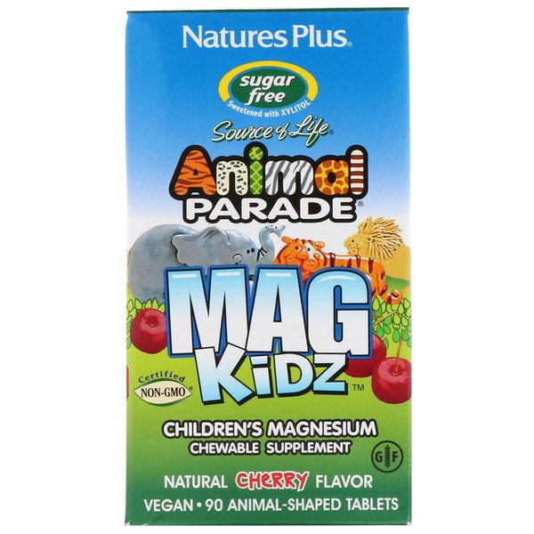 Animal Parade, MagKidz, Children's Magnesium, Natural Cherry Flavor, 90 Animal-Shaped Tablets