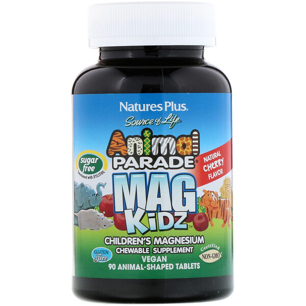 Source of Life, Animal Parade, MagKidz, Children's Magnesium, Natural Cherry Flavor, 90 Animal-Shaped Tablets
