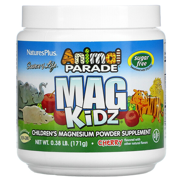 Nature's Plus, Source of Life, Animal Parade, Mag Kidz, Children's Magnesium, Cherry, 0.38 lb (171 g)