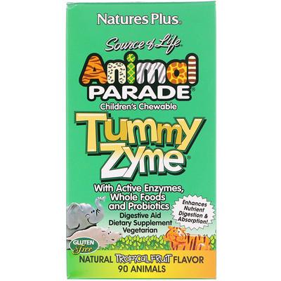 Купить Source of Life, Animal Parade, детские жевательные конфеты Tummy Zyme, со вкусом природных тропических фруктов, 90 конфет