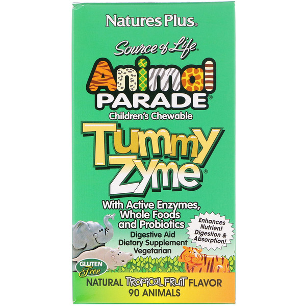 Source of Life, Animal Parade, Tummy Zyme, masticables para niños, sabor natural a frutas tropicales, 90 pastillas