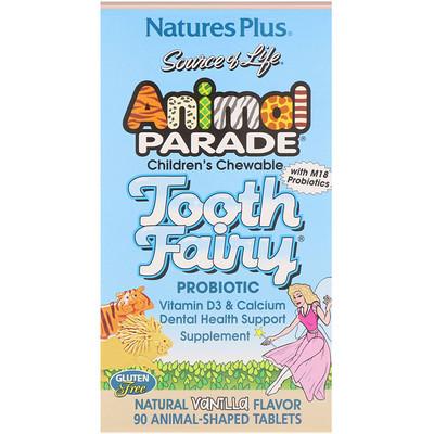 Source of Life, Animal Parade, Пробиотик Tooth Fairy, детские жевательные таблетки с натуральным вкусом ванили, 90 таблеток в форме животных натуретто глюкоза с лецитином и витаминами c e таблетки жевательные 17 со вкусом дыни