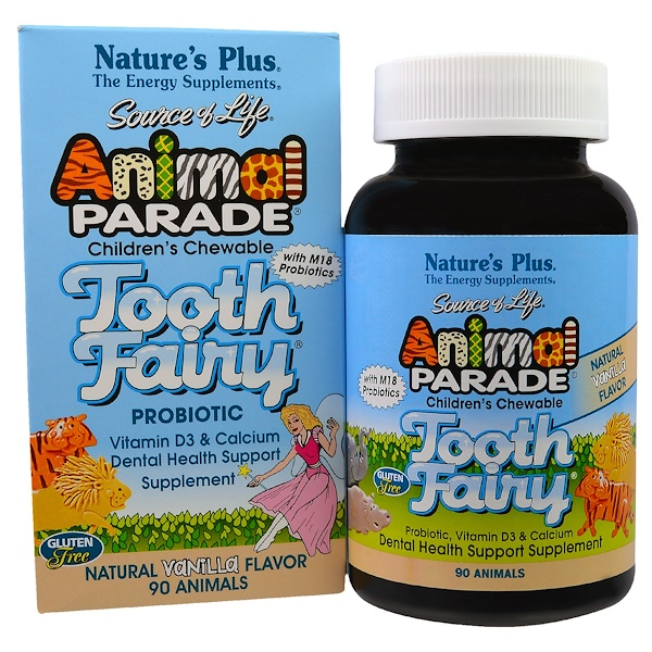 Nature's Plus, Source of Life, Animal Parade, Tooth Fairy Probiotic, Children's Chewable, Natural Vanilla Flavor, 90 Animals