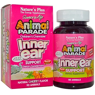 Nature's Plus, Source of Life, Animal Parade, Children's Chewable Inner Ear Support, Natural Cherry Flavor, 90 Animals