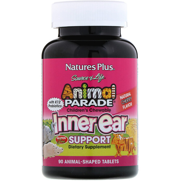 Source of Life, Animal Parade, Children's Chewable Inner Ear Support, Natural Cherry Flavor, 90 Animals-Shaped Tablets