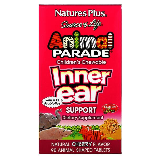 SourceofLife, AnimalParade, детские жевательные таблетки для поддержания здоровья внутреннего уха, со вкусом натуральной вишни, 90таблеток в форме животных