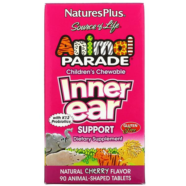 Nature's Plus, Source of Life, Animal Parade, suplemento masticable para el oído interno para niños, sabor natural a cereza, 90 tabletas con forma de animales