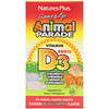 Nature's Plus, Source of Life, Animal Parade, Vitamina D3, Sabor Natural Cereja Preta, 500 IU, 90 Comprimidos em Forma de Animal