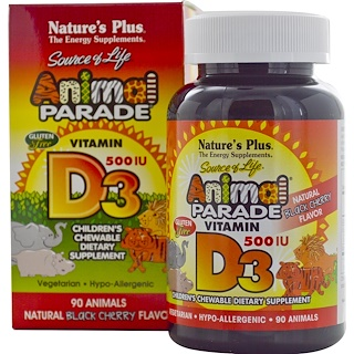 Nature's Plus, Source of Life с витамином D3, Animal Parade, детская мультивитаминная добавка с натуральным ароматом черной вишни, 500 МЕ, 90 жевательных капсул