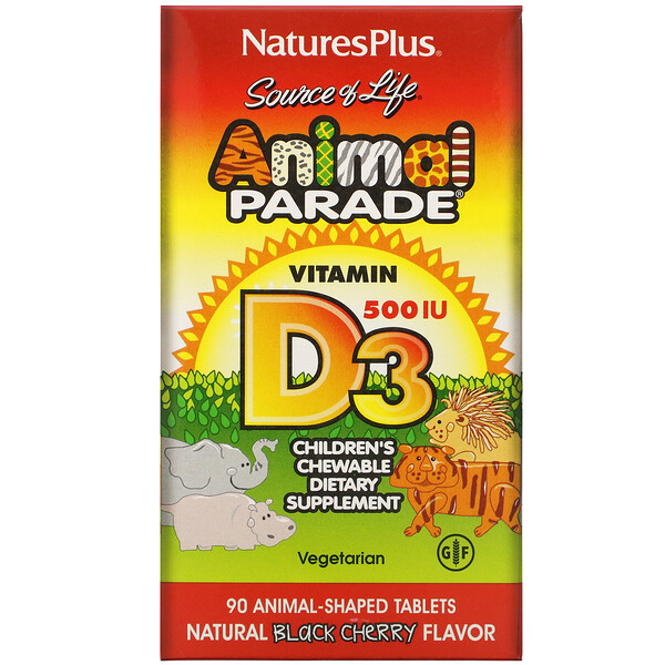 Source of Life, Animal Parade, Vitamin D3, Natural Black Cherry Flavor, 500 IU, 90 Animal-Shaped Tablets