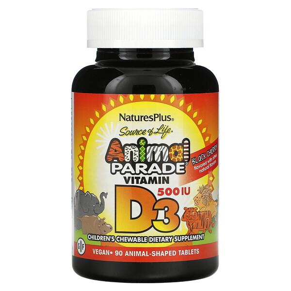 Source of Life, Animal Parade, Vitamin D3, Black Cherry , 500 IU, 90 Animal-Shaped Tablets