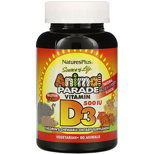 Натурес Плюс, Source of Life, Animal Parade, Vitamin D3, Natural Black Cherry Flavor, 500 IU, 90 Animal-Shaped Tablets отзывы покупателей