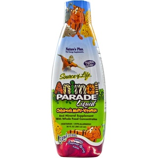 Nature's Plus, Source of Life, Animal Parade Liquid, Children's Multi-Vitamin, Natural Tropical Berry Flavor, 30 fl oz (887.10 ml)