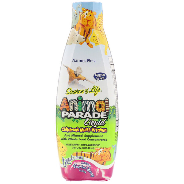 Nature's Plus, Source of Life, Animal Parade, Multi-Vitamínico líquido para niños, sabor natural a Bayas Tropicales, 30 fl oz (887,10 ml)