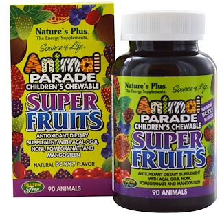 Nature's Plus, Source of Life Animal Parade, Children's Chewable Super Fruits, Natural Berry, 90 Animals