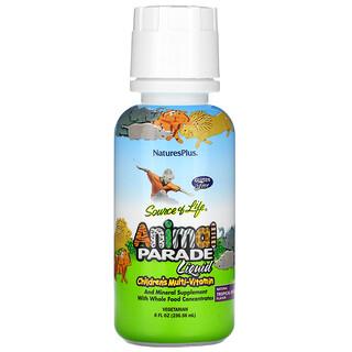 Nature's Plus, Source of Life, Animal Parade Líquido, Multi-Vitamina para Niños, Sabor a Bayas Tropicales Naturales, 8 fl oz (236.56 ml)