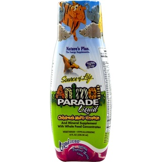 Nature's Plus, Source of Life, Animal Parade Liquid, Children's Multi-Vitamin, Natural Tropical Berry Flavor, 8 fl oz (236.56 ml)