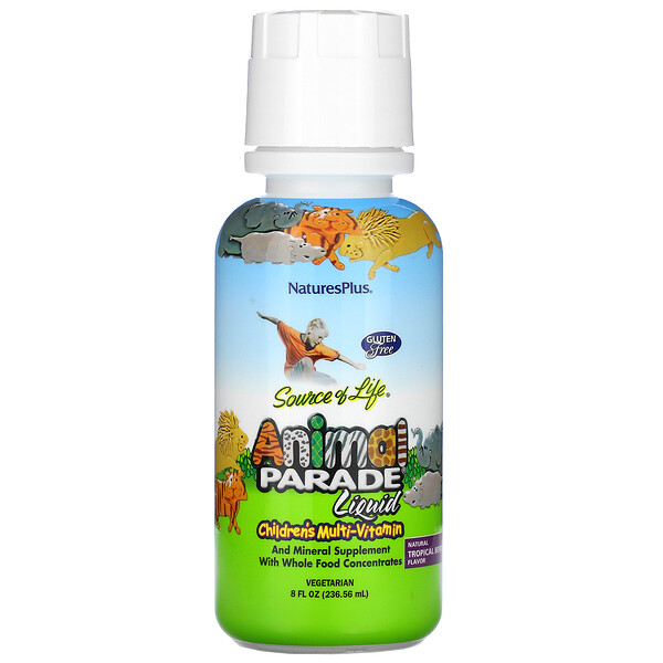 Source of Life, Animal Parade Liquid, Children's Multi-Vitamin, Natural Tropical Berry , 8 fl oz (236.56 ml)