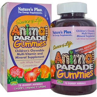 Nature's Plus, Source of Life, Animal Parade Gummies, Children's Chewable, Cherry, Orange & Grape, 75 Gummy Animals