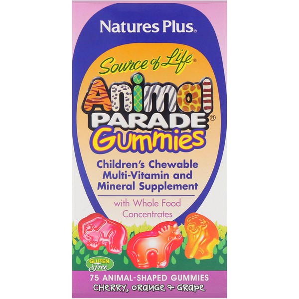 Nature's Plus, Source of Life, Animal Parade Gummies, Children's Chewable, Cherry, Orange & Grape, 75 Animal-Shaped Gummies