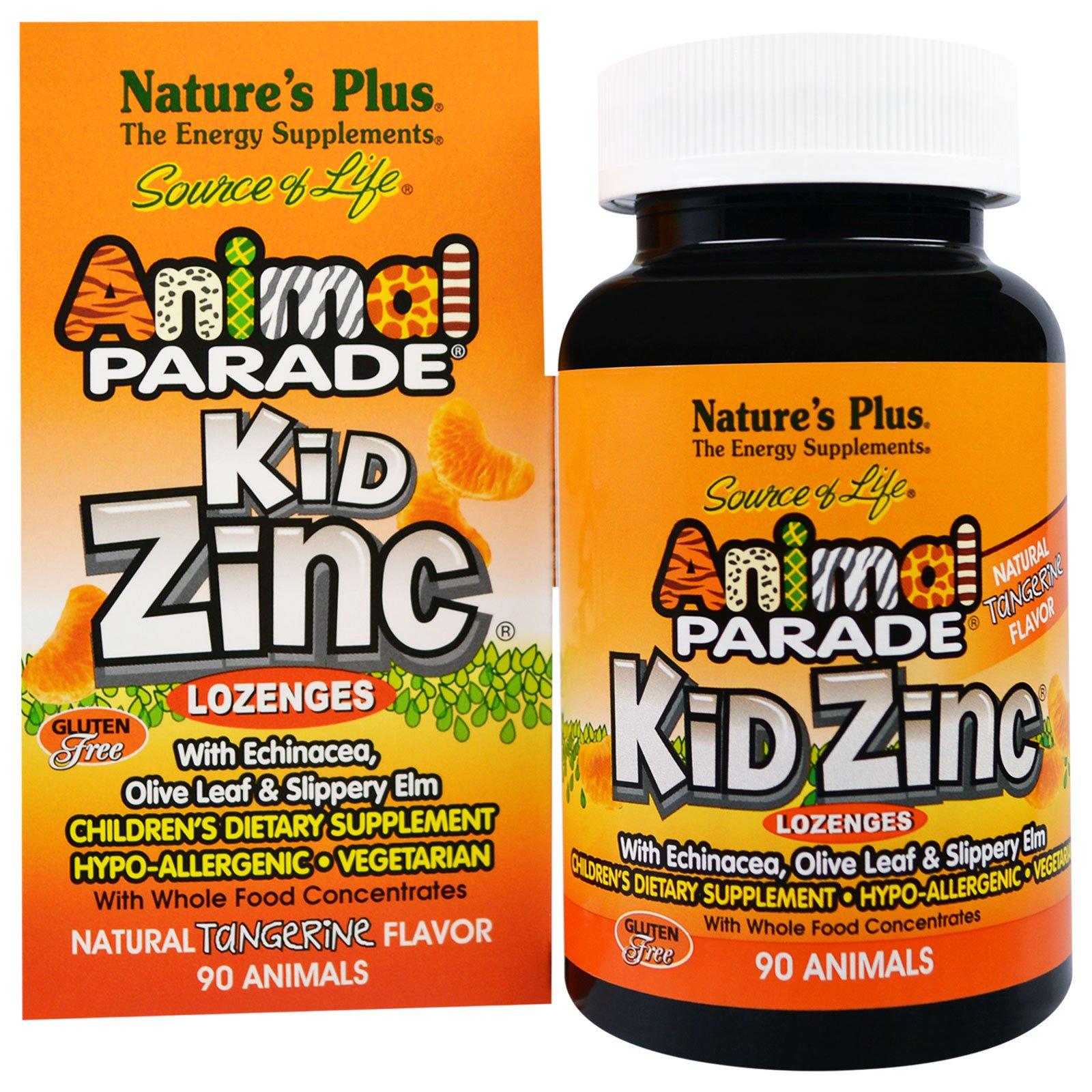 Nature's Plus, Источник жизни, Пастилки с цинком для детей в форме животных с натуральным вкусом мандарина, 90 животных