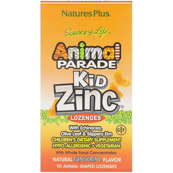 Nature's Plus, Source of Life, Animal Parade, pastillas de zinc para niños, sabor natural a mandarina, 90 animales
