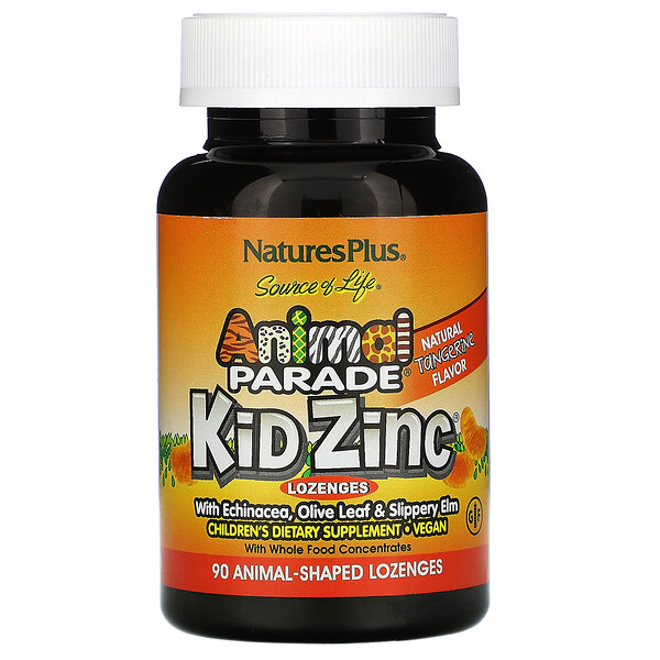 Source of Life, Animal Parade, Kid Zinc Lozenges, Natural Tangerine Flavor, 90 Animal-Shaped Lozenges