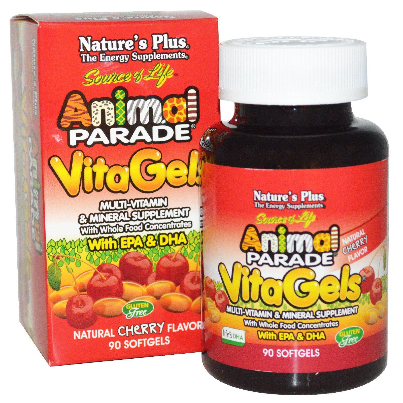 Nature's Plus, Source of Life, «Парад животных», Витагели, добавка с мультивитаминами и минералами, натуральный вишневый вкус, 90 мягких желатиновых капсул