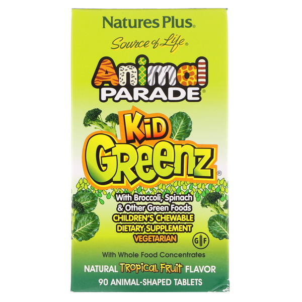 Nature's Plus, Source of Life, Animal Parade, Kid Greenz with Broccoli, Spinach, Natural Tropical Fruit Flavor, 90 Animal-Shaped Tablets