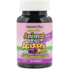 Nature's Plus, Source of Life,動物大遊行,AcidophiKidz,兒童咀嚼片,天然漿果味,90 片動物造型咀嚼片