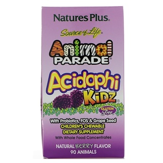 Nature's Plus, Source of Life Animal Parade, AcidophiKidz, Children's Chewable, Natural Berry, 90 Animals