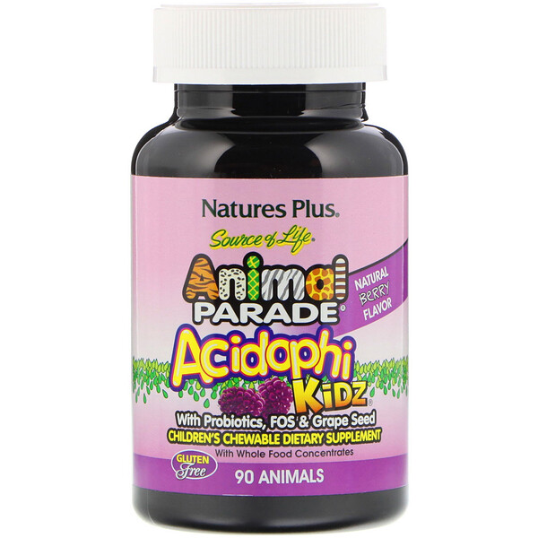 Source of Life, Animal Parade, AcidophiKidz, Children's Chewable, Natural Berry, 90 Animal-Shaped Tablets